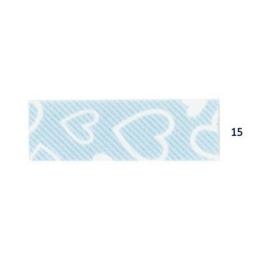 Biais imprimé 7500-4 coeur fond bleu ciel