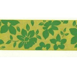 Taffetas imprimé sur 1 face - Motif fleurs fond jaune/vert 3