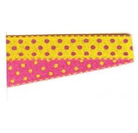Galon pois rose-jaune 10 mm