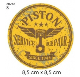 Ecusson automobile 8 piston rond