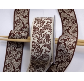 Galon jacquard arabesque BEIGE / MARRON