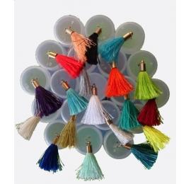 Pompon floche unie sertie tête laiton