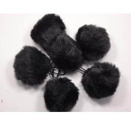 Pompons fourrures noir