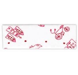 Biais imprimé Vélo Maison Chien - Blanc Rouge