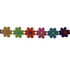 Guipure fleurs multicolor