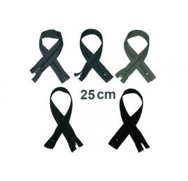 Fermeture 25cm : les gris et noir pour jupes et pantalons