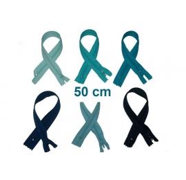 Fermeture 50cm : les bleus pour robes, coussins