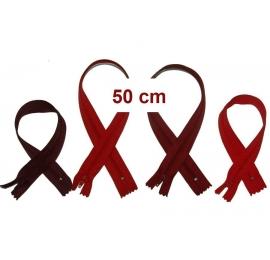 Fermeture 50cm : les rouges et bordeaux pour jupes et pantalons