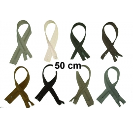 Fermeture robe 50cm : les beiges et marrons