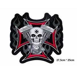 écussons Motorcycle Tête de mort Bloc Moteur