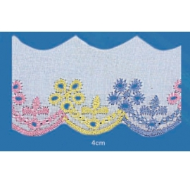 Broderie Anglaise brodée couleurs