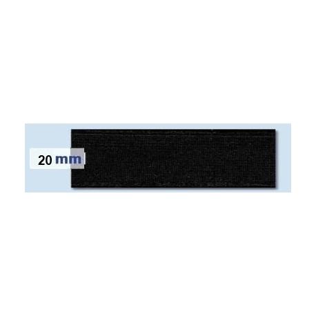 Elastique plat rigide 20 mm noir
