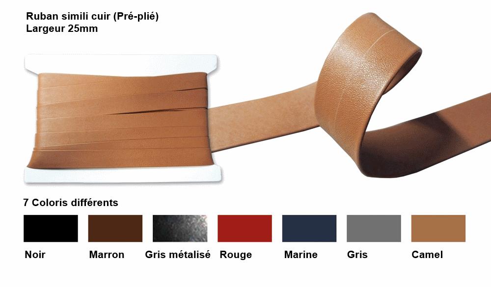 galon simili cuir pré-plié carte noir.