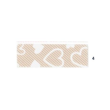 Biais imprimé 7500-4 coeur fond beige