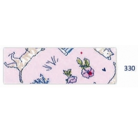 Biais motif chat rose 330