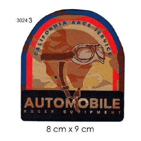 Ecusson automobile 3 casque cuir