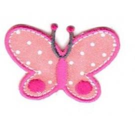 Ecusson papillon rose