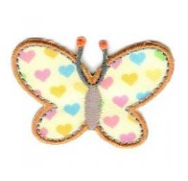 Ecusson papillon petits coeurs