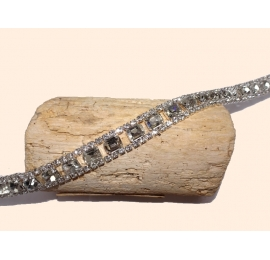 Superbe Ruban Strass Cristal 15mm rectangle