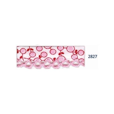 biais piquot bulles écru-rose