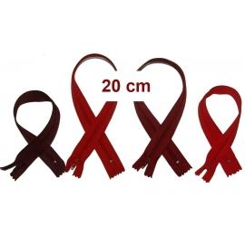 Fermeture 20cm : les rouges et bordeaux pour jupes et pantalons