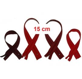 Fermeture 15cm : les rouges et bordeaux pour jupes et pantalons