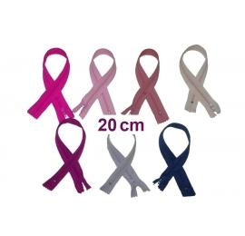 Fermeture 20cm : les mauves et roses pour jupes et pantalons
