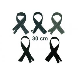 Fermeture 30cm : les gris et noir pour jupes et pantalons