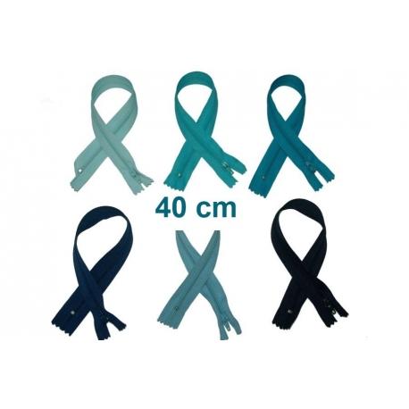 Fermeture 40cm : les bleus pour jupes et pantalons