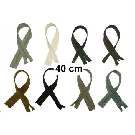 Fermeture robe 40cm : les beiges et marrons