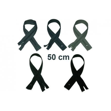 Fermeture 50cm : les gris et noir pour robes, coussins