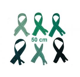 Fermeture 50cm : les verts et kakis pour jupes et pantalons