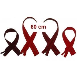 Fermeture 60cm : les rouges et bordeaux pour jupes et pantalons