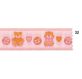Galon jacquard enfant rose