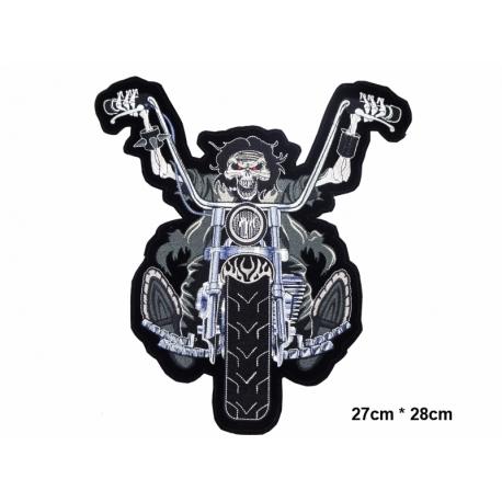 écussons Motorcycle Squelette motard noir