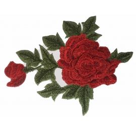 écussons fleurs : grande rose rouge