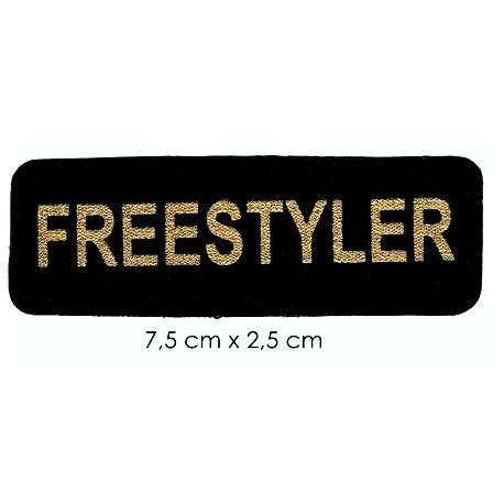 Écusson sérégraphié texte or fond noir Freestyler