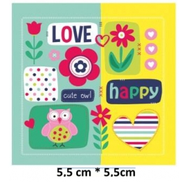 Écusson Love Happy Fleurs hibou