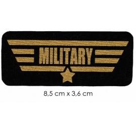 Écusson sérégraphié texte or fond noir military
